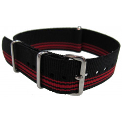 Watch NATO strap Black/Red light bands