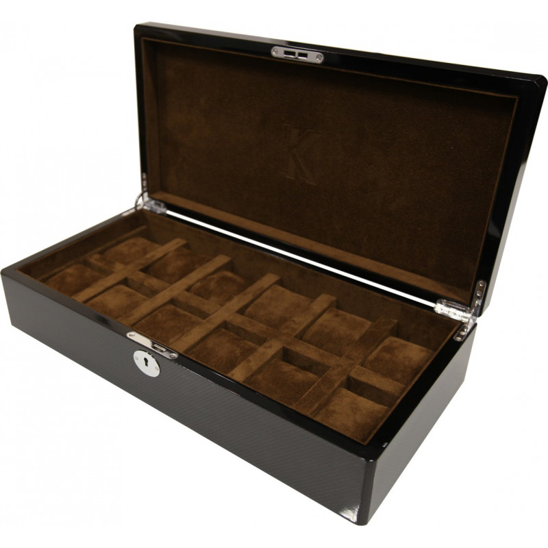 KronoKeeper watch box for 12 watches in Carbon