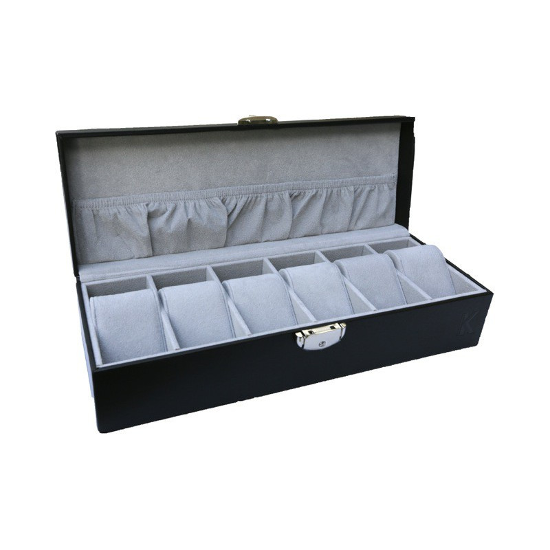 KronoKeeper box for 6 watches genuine leather with glass