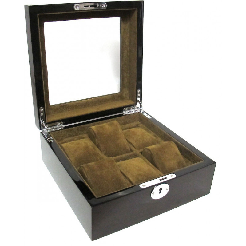 Wooden cabinet with glass mat for 6 watches KronoKeeper brand