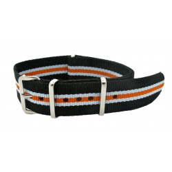 Watch NATO strap Black/White/Orange