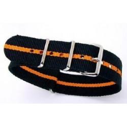 Bracelet nylon NATO Noir/Orange