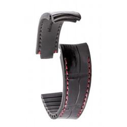 R-Strap - Alligator strap for Rolex - Black with red stitching