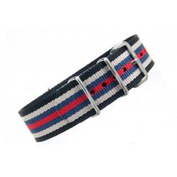 Watch NATO strap Black/White/Red/Blue