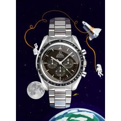 Watchoniste X MisterChrono art printing - moonwatch - 60x80