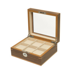 Clipperton 6 watch box in brown wood with glass lid
