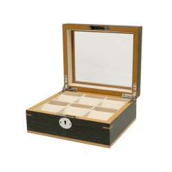 Clipperton 6 watch box in grey wood with glass lid
