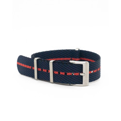 Premium NATO strap - Black/Navy/Red