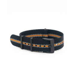 Premium nato strap PVD buckle - Black/Grey/Orange