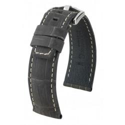 Tritone Hirsch Watch Strap Black with white stitching
