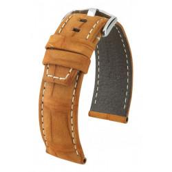 Tritone Hirsch Watch Strap Golden Brown with white stitching