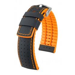 Watch strap Robby Hirsch Black/Orange