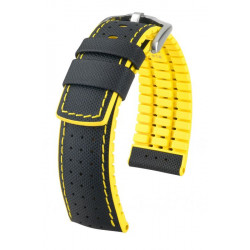 Watch strap Robby Hirsch Black/Yellow
