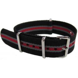 Watch NATO strap black/red/grey