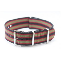 Bracelet nylon NATO Noir/Rouge/Khaki