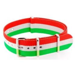 Bracelet nylon NATO Orange/Blanc/Vert