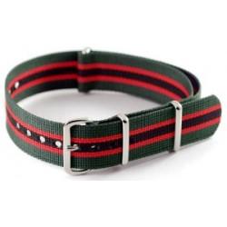 Bracelet nylon NATO Vert/Rouge/Noir